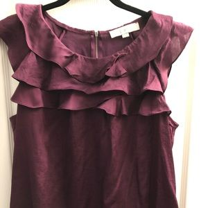 LOFT sleveless ruffle bubble hem top magenta color